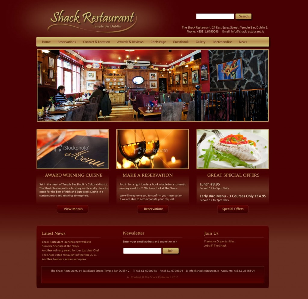 Shack Restaurant - Irish Web Design
