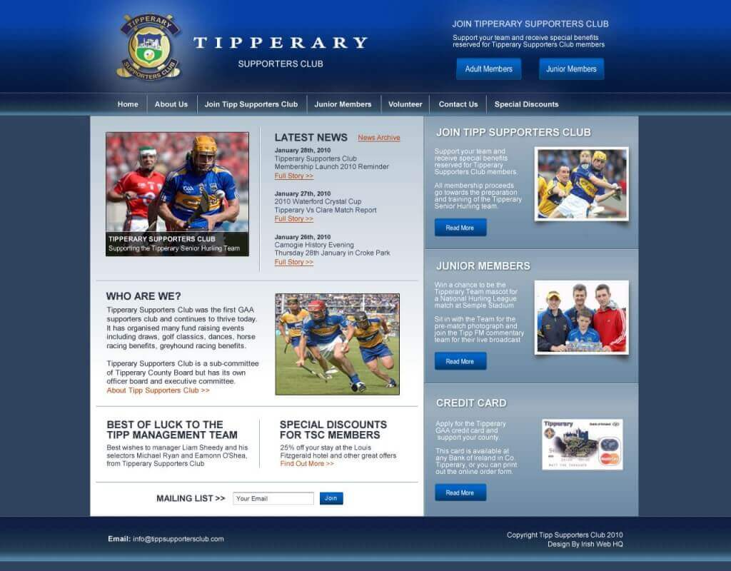 Website Design - Tipperary Supporters Club