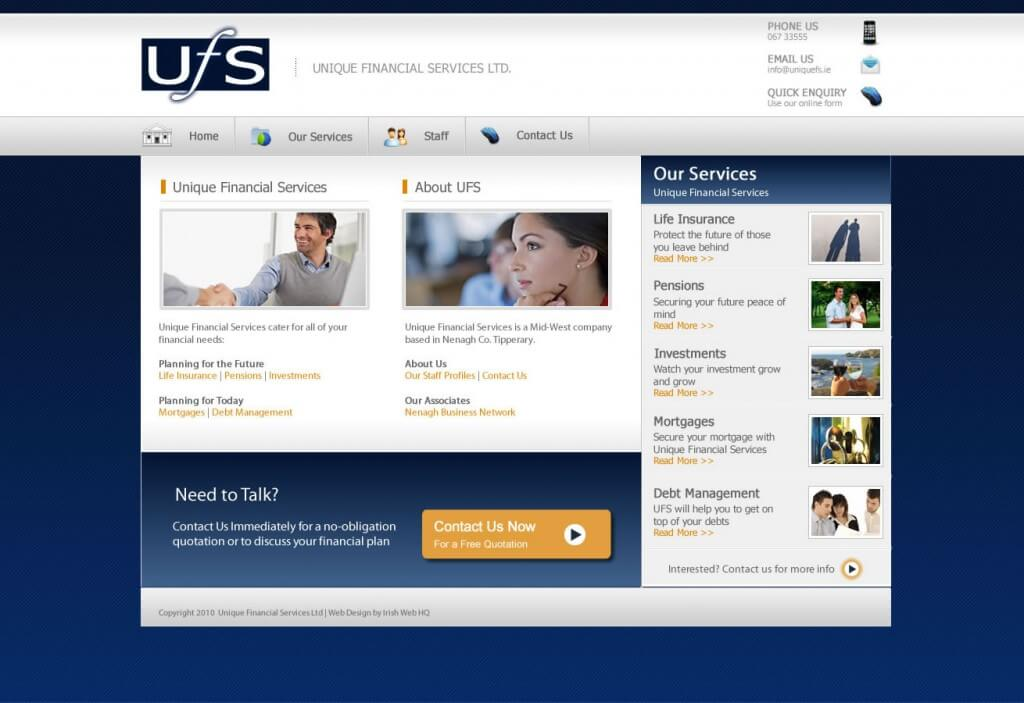 Ireland Website Design - Unique Financial Services