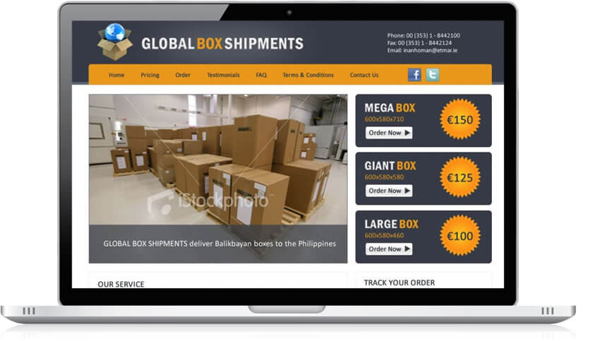 Global Box Shipments Website Design