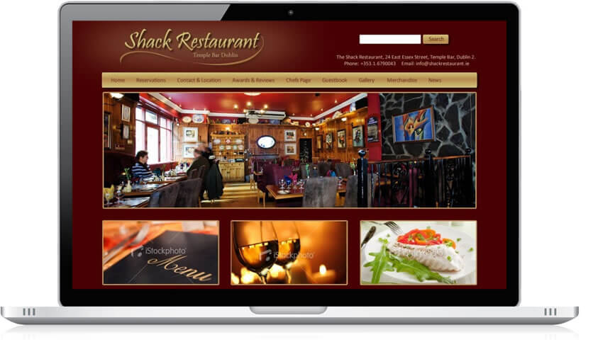 Website Design for Shack Restaurant