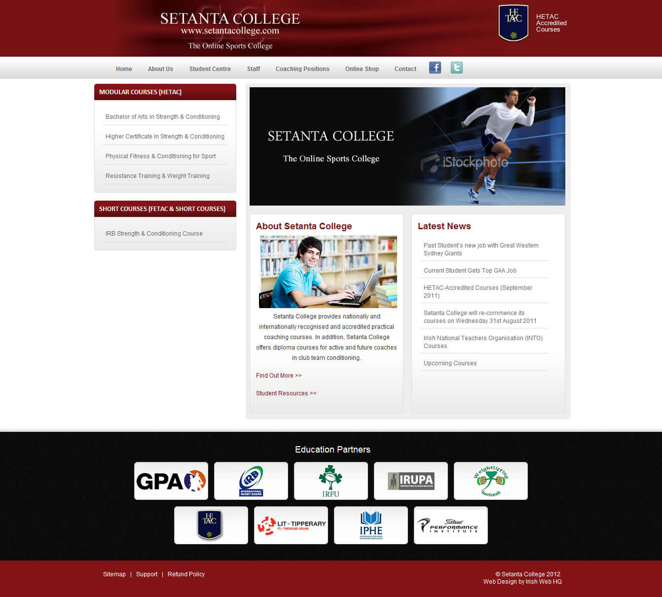 Setanta College Website Design - The Original