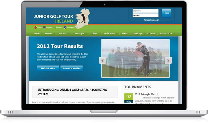 Junior Golf Tour Ireland Website Design