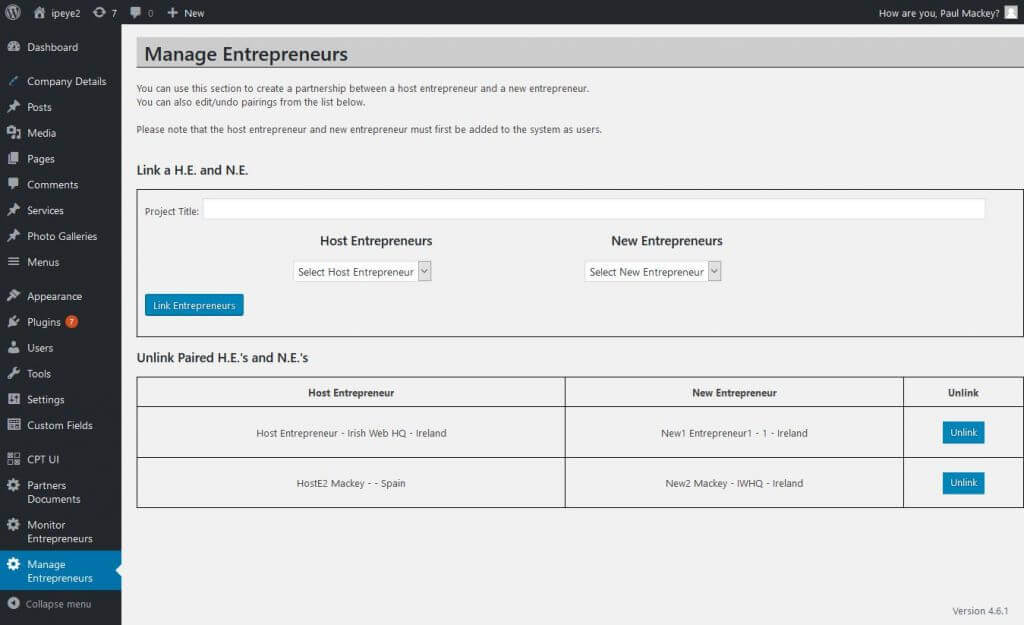 Administrators can pair/unpair entrepreneurs