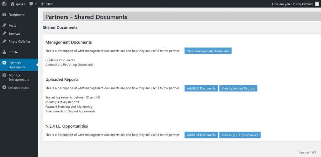 Main Screen for Partners & Administrators